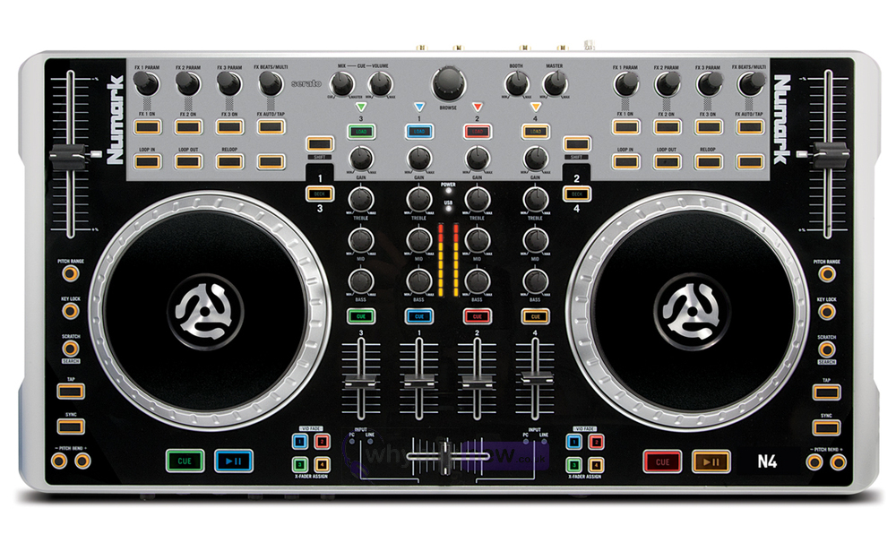 numark n4 4 channel dj controller with mixer. Black Bedroom Furniture Sets. Home Design Ideas