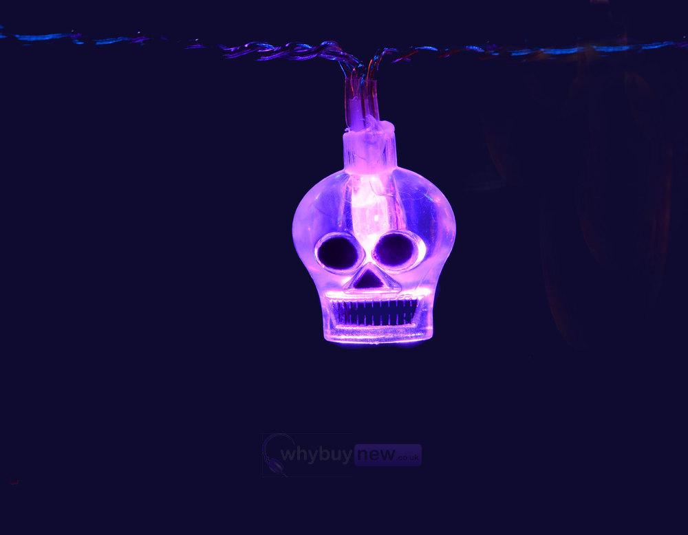 Qtx led halloween string lights violet skulls