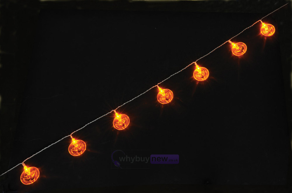 Led String Lights Orange : QTX LED Halloween String Lights - 10xOrange Pumpkins whybuynew.co.uk