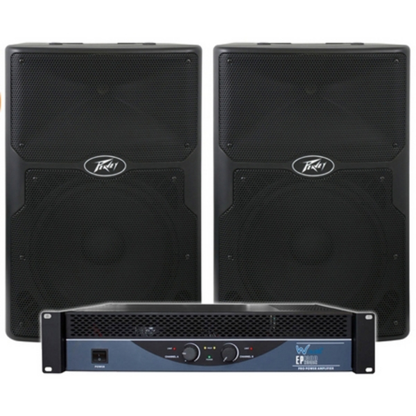 B-Stock Peavey PVX15 Passive Speakers & W-Audio EP1300 Amp PA DJ Disco Package