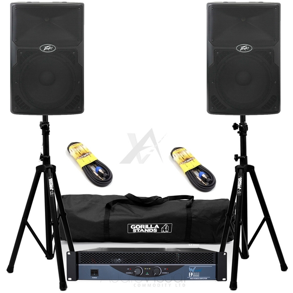Peavey PVx12 Passive Speakers & W-Audio EP1300 Power Amp DJ Disco PA Package