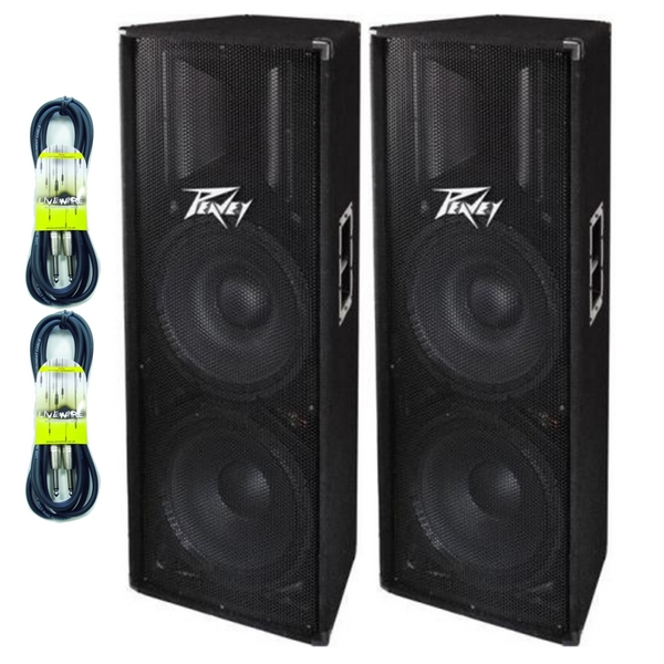 Peavey PV215 400W Passive PA Disco DJ Speakers PAIR With FREE Speaker Cables