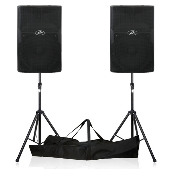 Peavey PVXp 15 1600W DJ PA Disco Active Powered Speakers PAIR With Stands