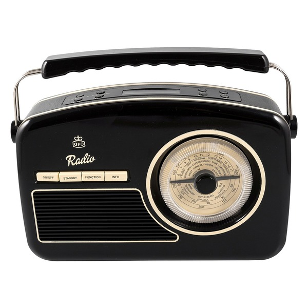 gpo rydell retro dab radio mains battery operated with alarm 1950s style black ebay. Black Bedroom Furniture Sets. Home Design Ideas