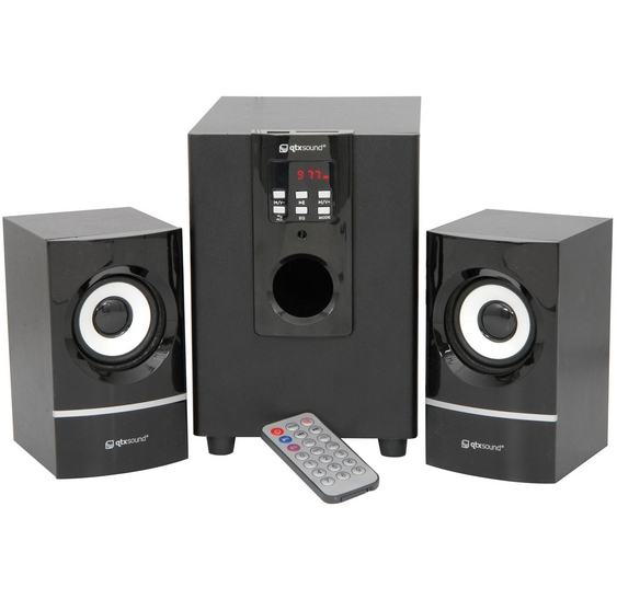 QTX Sound Compact 2.1 Speaker System With USB/SD/FM