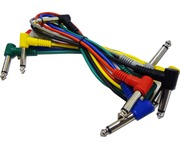 6 Coloured 6.3mm Jack Guitar Patch Leads 0.6m 1/4