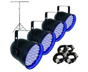 4x Showtec LED PAR56 Short Eco With T-Bar Stand Package