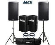 Alto TS212 Speaker Pair with Stands, Covers & Cables